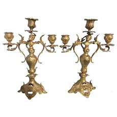 Pr Antique French Dore Bronze Gilt 3 Cup Candelabra Candle Holders W Caryatids