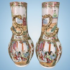 Pr Antique Chinese Porcelain Rose Famille Medallion Canton Ware Vases W Dragons As Is