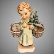 German Goebel Christmas Angel Figurine W Baskets & Tree