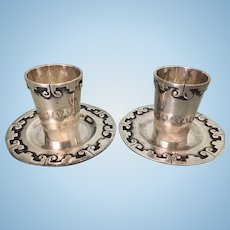 Pr Bernice Goodspeed Taxco Mexican Sterling Silver Shot Glass Cups & Underplate Saucers