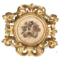 Antique Italian Rococo Florentine Carved Gilt Frame With Petit Point