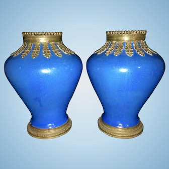Pr French Boch Freres Crackle Blue Faience Pottery W Mounted Ormolu