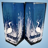 Pr Antique Mary Gregory Glass Cobalt Blue Enamel Square Vases W Birds