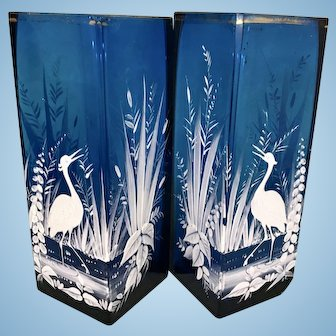 Pr Antique Mary Gregory Glass Cobalt Blue Enamel Square Vases W Birds
