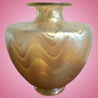 Art Nouveau Loetz Phaenomen Gold Swirl Vase Austria Jugendstil