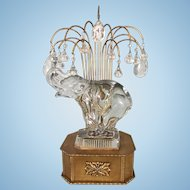 French Art Deco Brass Metal Boudoir Lamp Glass Elephant Crystal Waterfall Prisms