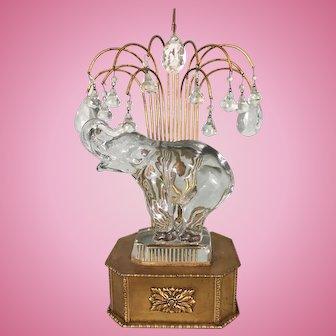 French Art Deco Brass Metal Boudoir Lamp Glass Elephant Crystal Waterfall Prisms