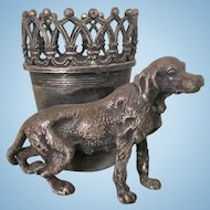 Antique James Tufts Silver Plate Victorian Irish Setter Dog Toothpick Match Holder