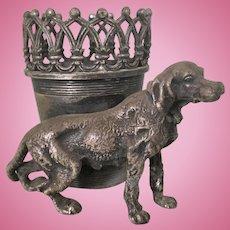 Antique James Tufts Silver Plate Victorian Irish Setter Dog Toothpick Match Holder