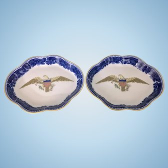 Pair Mottahedeh Porcelain Eagle Pin Coin Trays