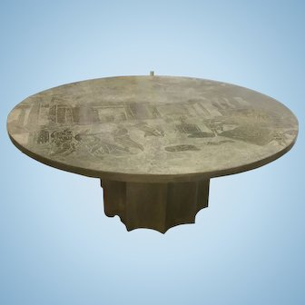 Bronze Pewter Kelvin Philip Laverne Odyssey Coffee Table Mid Century Modern Eames Era