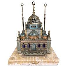 Viennese Austrian Cold Painted Bronze Arab Mosque Lamp Marble Base Works Vienna Sculpture