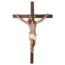 Vintage Religious Jesus Christ On Cross W Glass Eyes Plaster Polychrome