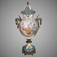 Tall French Sevres Porcelain Bronze Ormolu Lidded Urn Revolving Base Signed Poitevin Backgammon