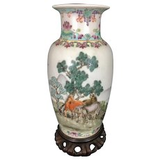 Chinese Porcelain Enamel Republic Period Vase W Horses Jingdezhen Mark Poem