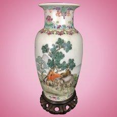 Chinese Porcelain Enamel Republic Period Vase W Horses Jingdezhen Mark Poem