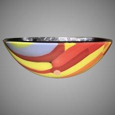 Seguso Murano Venetian Cased Glass Vase Bowl Multi Colored Stripes Signed