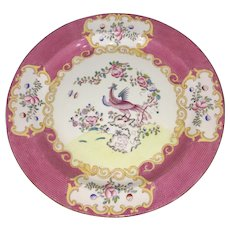 Antique Minton Pink Cockatrice English Porcelain Charger Serving Dish Exotic Bird
