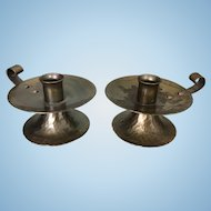 Pair Small Hand Hammered Copper Roycroft Candle Holders Mission Style Arts & Crafts