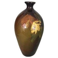 Old Roseville Rozane Art Pottery Vase Standard Glaze W Colorful Flowers