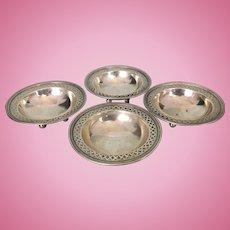4 Tiffany & Co Reticulated Sterling Silver Salt Cellars W Ball Feet