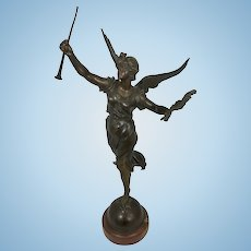 Marcel Debut French Bronze On Marble Sculpture Winged Female Goddess