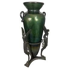 Giorgio Sommer Bronze Tripod Base Sphinx & Venetian Glass Vase Epergne Italy