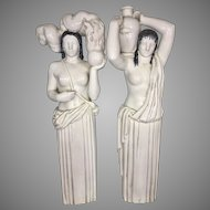 1930's Art Deco Atlantic Terra Cotta Co Architectural Salvage Building Women Pair