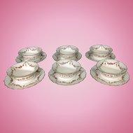6 George Jones Ovington Bros English Porcelain Ramekin Dessert Cups Saucers Roses Swags