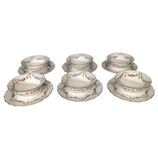 6 George Jones Ovington Bros English Porcelain Ramekin Dessert Cups Saucers Roses Swags