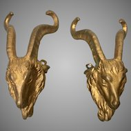 Pr 19th C French Gilt Bronze Ormolu Goat Ram Mounts Salvage Parts