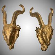 Pr 19th C French Gilt Bronze Ormolu Goat Ram Mounts Salvage Parts