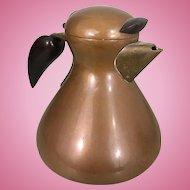 Karl Hagenauer Copper Brass Wood Tea Coffee Pot Vienna Werkstatte Art Nouveau Crafts