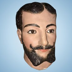 Old Paper Mache Mannequin Head Bearded Male W Glass Eyes