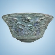 Large Antique Continental Verdigris Bronze Bowl Bacchanalian Bas Relief Satyrs Cherubs