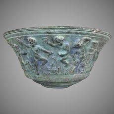 Large Antique Continental Verdigris Bronze Bowl Bacchanalian Bas Relief Satyrs Cherubs