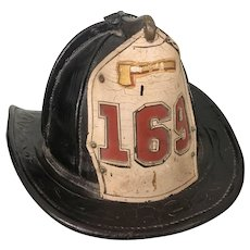 Old Cairn Brothers Fire Leather Helmet NYC Fireman