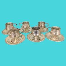 6 Austrian WMF Metal Silver Plate Cups & Saucers Jugendstil Secessionist Art Nouveau Period