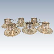 6 Amazing WMF Silver Plate Cups & Saucers Jugendstil Secessionist Art Nouveau Period