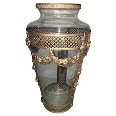 French Empire Tall Clear Glass Urn Vase With Mounted Ormolu Brass Trim