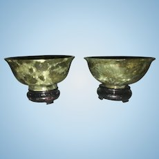 Pair Vintage Chinese Asian Small Green Jade Cups With Original Box