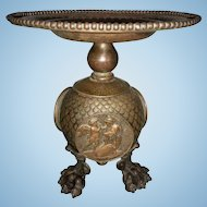 19th C Hammered Copper Tazza Compote Cherubs Neoclassical Bronze Paw Feet