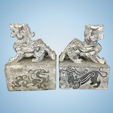 Carved Chinese Stone Foo Lions Dogs Bookends Chop Wax Seals