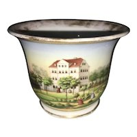 Antique German Porcelain Hand Painted Topographical Cup House Manor Garden Scene