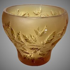 Small Amber Lalique France Art Glass Vase Votive Candle Holder W Leaves