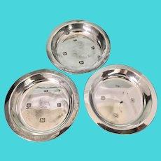 3 English Sheffield Viners Sterling Silver Pin Trays Salts Dish Cellar