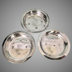 3 English Sheffield Viners Sterling Silver Pin Trays Salts Dish Cellar