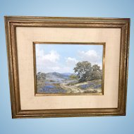 William Slaughter Realism Oil Painting Texas Bluebonnets Landscape