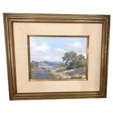 William Slaughter Realism Oil Painting Texas Bluebonnets Landscape