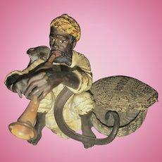 Bergman Bronze Snake Charmer Cobra Snake Basket Signed Vienna Austrian